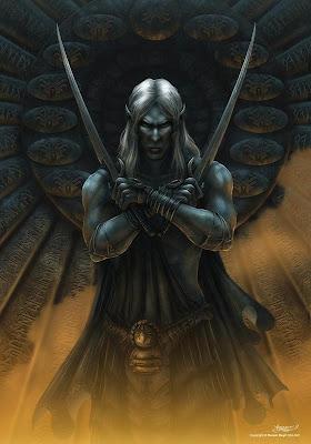 elfo oscuro con espadas