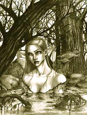 elfa desnuda banandose