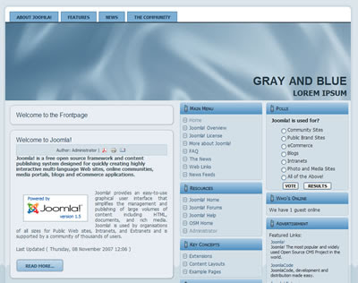 three column joomla template gray blue