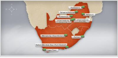 mapa de estadios de sudafrica 2010