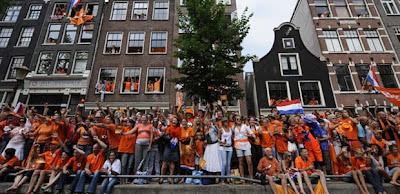 el festejo de los holandeses por el subcampeonato