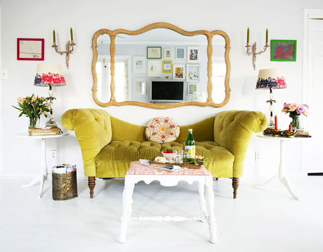chartreuse couch in bright white room