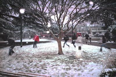 Jugando con la nieve en la plaza de Moreno