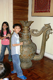 An elaborate metal vase in the Romualdez Museum