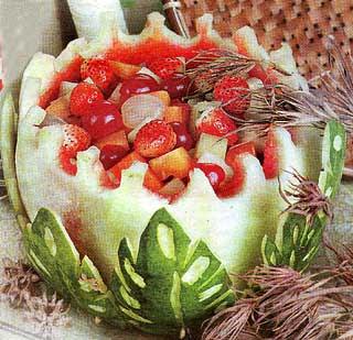 bahan semangka 1 buah isi melon 1 2 buah bentuk dadu 1 cm apel 2 buah