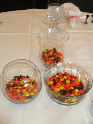 The kids tables had delicious candy centerpieces which many adults stole