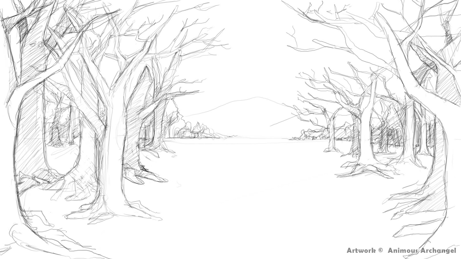 Line Drawing Backgrounds : Archangel project scenery background inside a