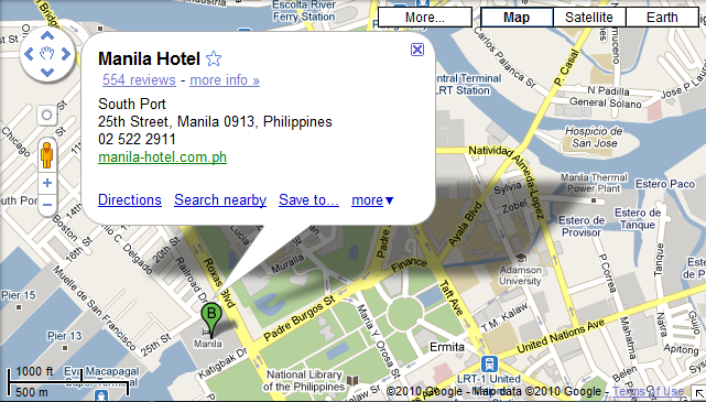 Now Here S The Manila Hotel As Shown In Google Maps I Was Hoping To Get Directions From Ninoy Aquino International Airport But Instead Ll Just Post