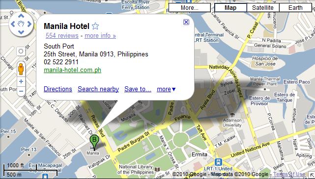 Manila hotels manila hotels the manila hotel in google maps for Google hotes