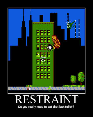 Rampage arcade NES motivational poster, resigned gamer
