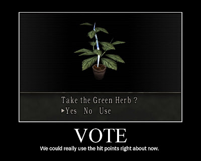 marijuana motivational voting poster, resident evil, resigned gamer, green herb