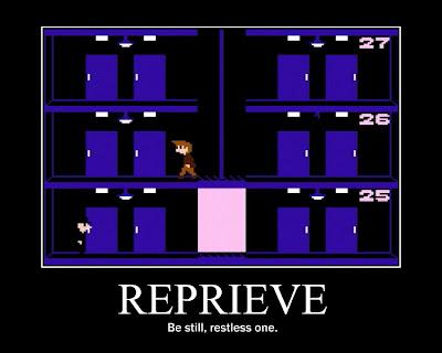elevator action motivational poster, resigned gamer