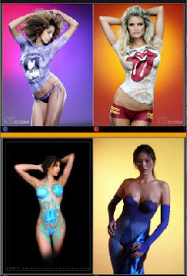 Football Model Body Painting Art