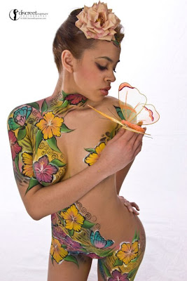 Flower Body Painting Art, Sexy Female Body Paint Art