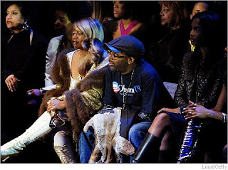 Director Spike Lee models a shirt supporting Barack Obama at the Sean Jean fashion show