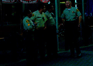 Uniformed police were called to guard the City Walk exiting Universal Studios