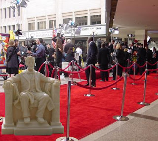 Honest Abe awaits his close up on the red carpet