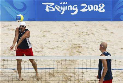 Mens Volleyball defending champions Todd Rogers and Philip Dalhausser received nicknames from President George Bush while competing in the 2008 Beijing Olympics - Photo courtesy of REUTERS/Phil Noble