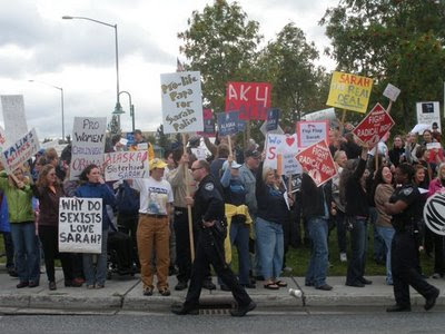Alaskan Women Against Sarah Palin Rally Crowds Streets of Alaska - Photo courtesy of Adventures in AK