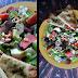 Salat servert med naanbrød