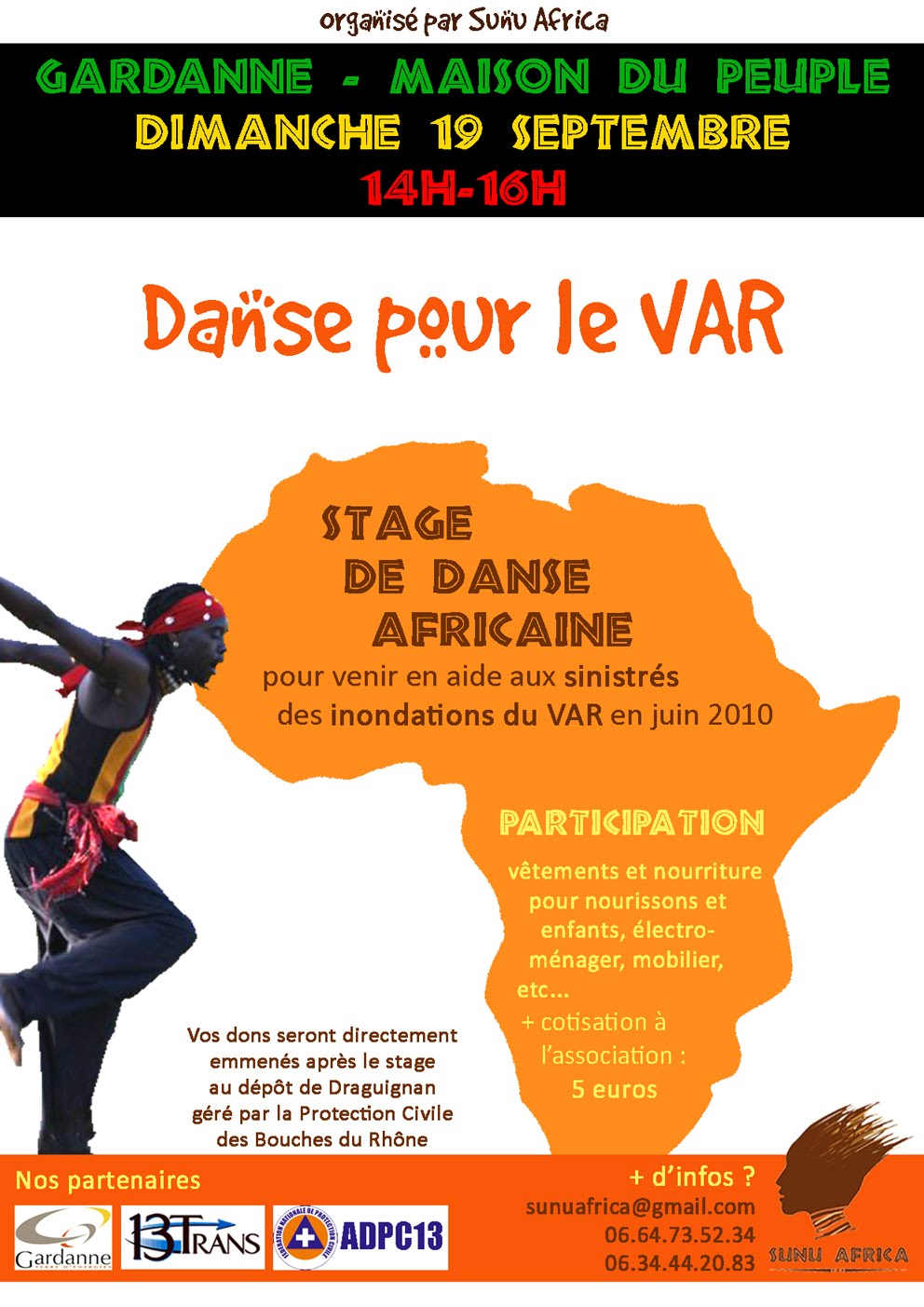 danse pour le var aide aux sinistr s des inondations de juin 2010 sunu africa. Black Bedroom Furniture Sets. Home Design Ideas