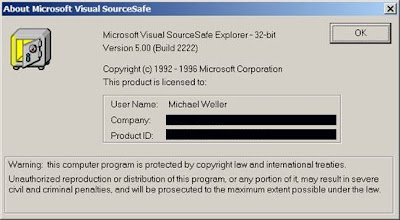 About box: Microsoft Visual SourceSafe Explorer - 32-bit. Copyright (c) 1992 - 1996