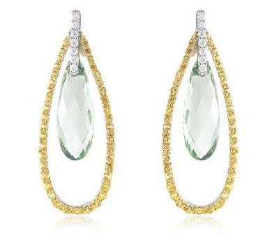 Pradiolite and Sapphire Earrings