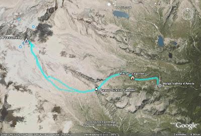 Google Ansicht Route auf die Cima Presanella