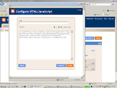 Adding the Linkedin Profile button code into the HTML Gadget