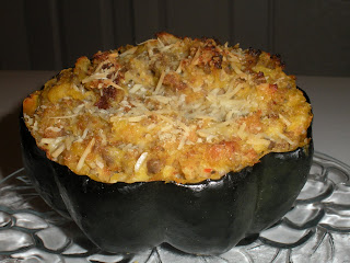 Hot sausage stuffed acorn squash