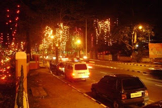 city road illuminated