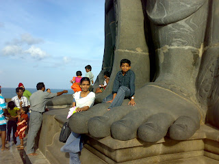 the foot of 133ft tall Thiruvalluvar Statue