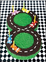 Number 8 Speed Racer Race Car Track birthday cake