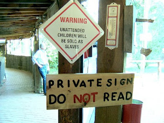 funny private sign
