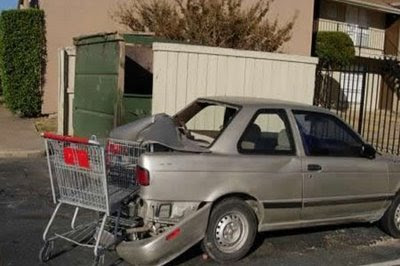 shopping cart hits car accident