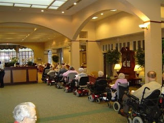 funny pics rush hour nursing home village wheelchair line