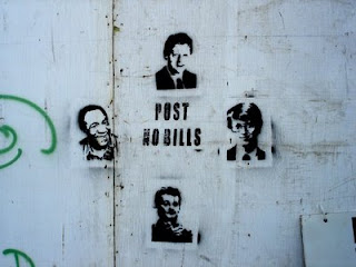 really funny graffiti post no bills very clever artist