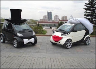 funny smart car photo dressed for a wedding