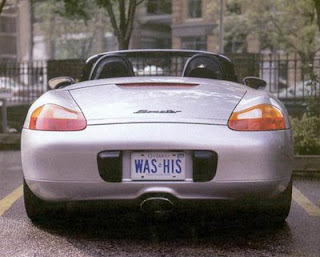 funny photos of porsche with was his licence plate wife got the car in divorce pic
