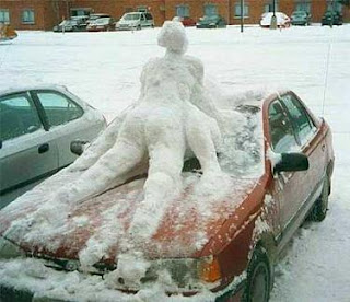 really funny ice sculpture dirty people on a car