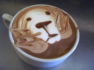 really smart barista photo of retriever dog in coffee or hot chocolate