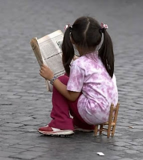 funny tiny chaor with girl reading newspaper cool