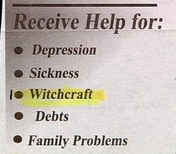 funny witchcraft witch ad for counselling help on such things as depression and sickness weird