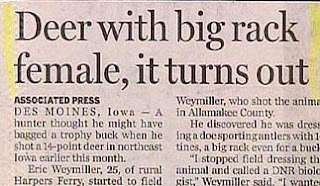 funny headlines photos deer with big rack female