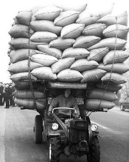 funny tractor photos overloaded with bags of wheat or grain worlds worst job dangerous