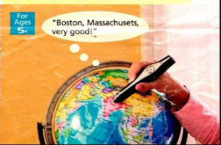 really funny ad for world globe with pointer and caption saying boston but really india