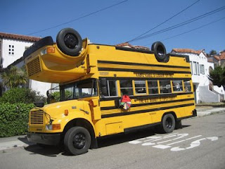 funny school bus photos upside down