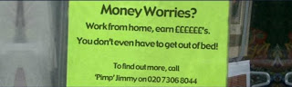 funny picture of job ad work from home sont even have to get out of bed call the pimp jimmy