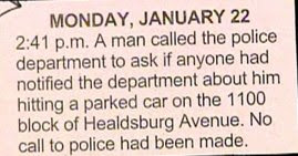 funny news story about man who called police to check on his own car accident