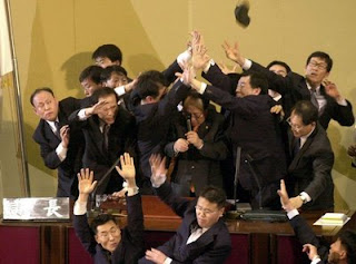 funny weird photo of fight in parliament maybe taiwan